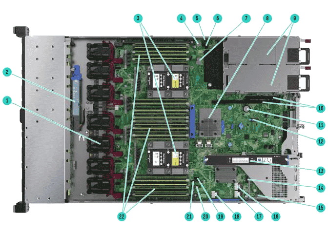 HPE ProLiant DL360 Gen10 вид внутри